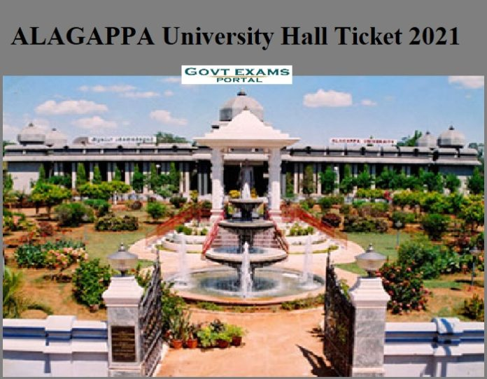 ALAGAPPA University Hall Ticket 2021