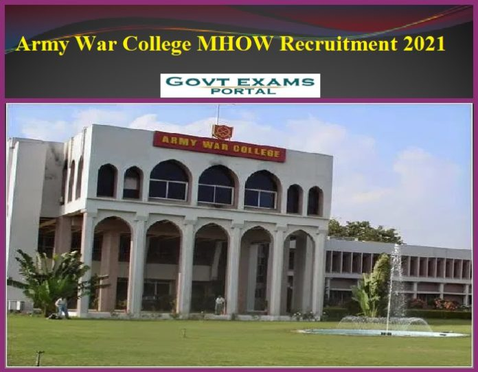 Army War College MHOW Recruitment 2021