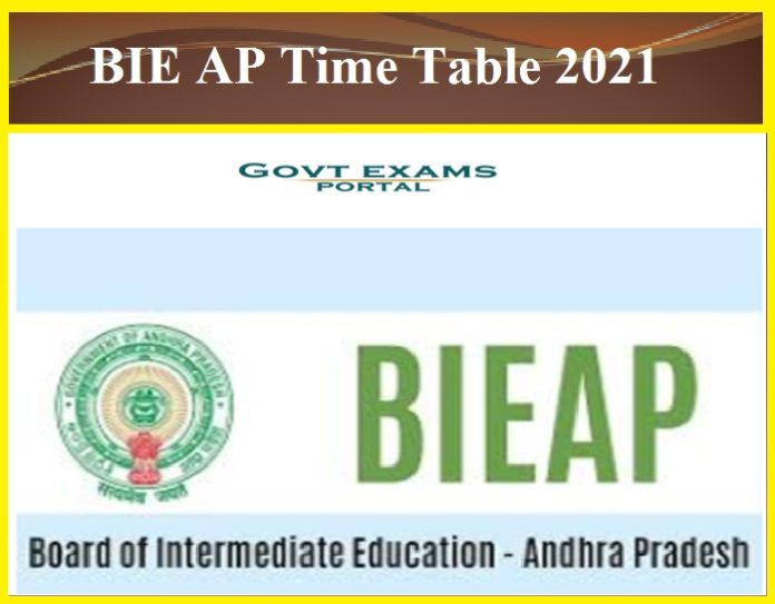 BIE AP Time Table 2021