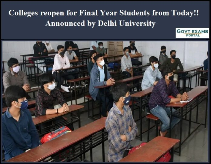 Colleges reopen for Final Year Students from Today!! Announced by Delhi University