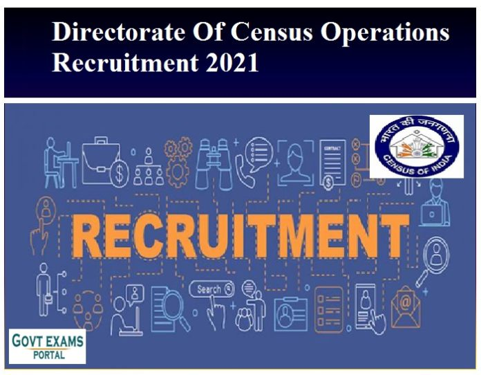 Directorate Of Census Operations Recruitment 2021