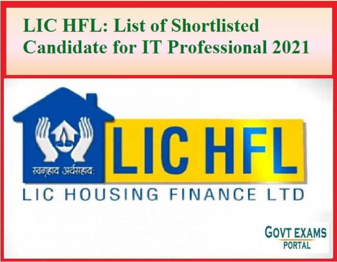 LIC HFL List of Shortlisted Candidate for IT Professional 2021