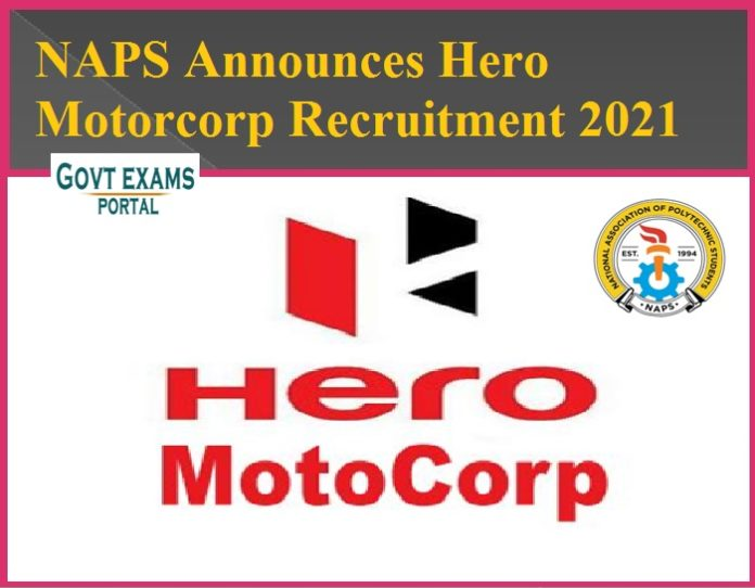 NAPS Announces Hero Motorcorp Recruitment 2021