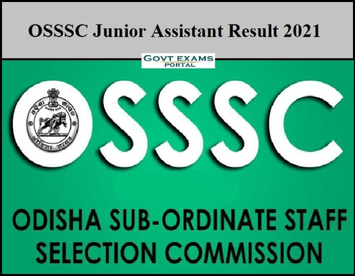 OSSSC Junior Assistant Result 2021