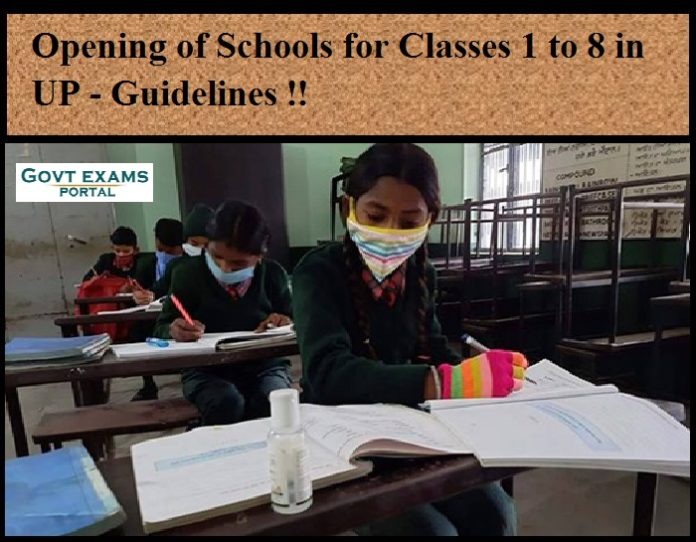 Opening of Schools for Classes 1 to 8 in UP - Guidelines !!
