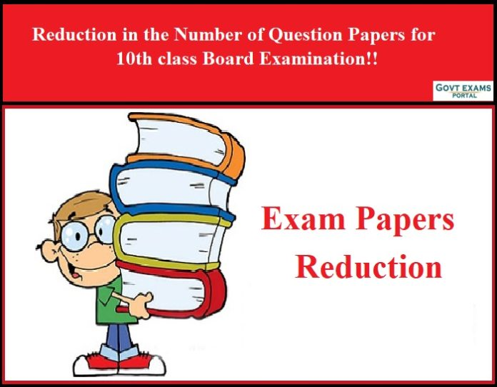 Reduction in the Number of Question Papers for 10th class Board Examination
