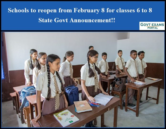 Schools to reopen from February 8 for classes 6 to 8 - Rajasthan State Govt Announcement!!