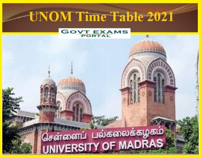 UNOM Time Table 2021