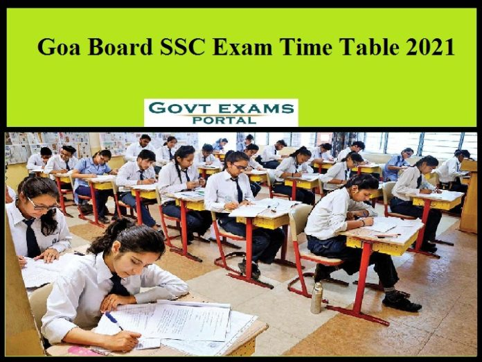 Goa Board SSC Exam Time Table 2021