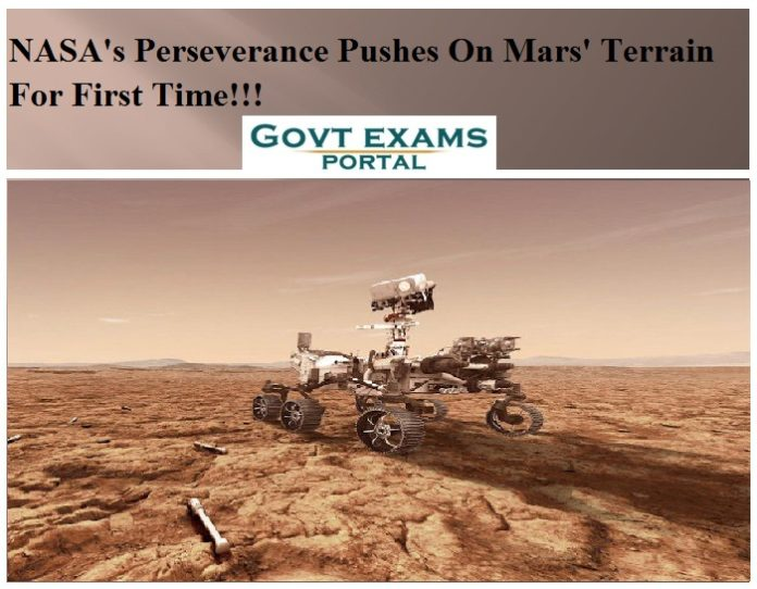 NASAs Perseverance Pushes On Mars' Terrain For First Time