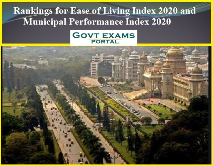 Rankings for Ease of Living Index 2020 and Municipal Performance Index 2020