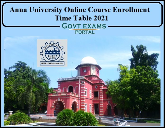Anna University Online Course Enrollment Time Table Released- Check Details for PG Courses!!!