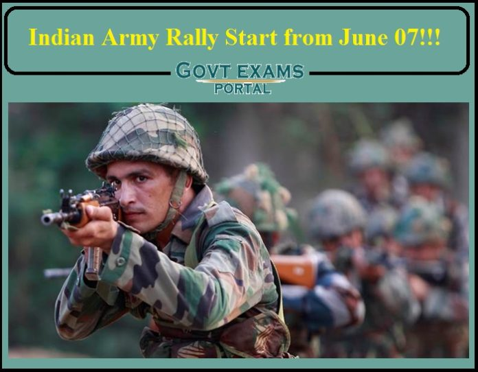 Indian Army Rally Start from June 07- Apply Online Now!!!