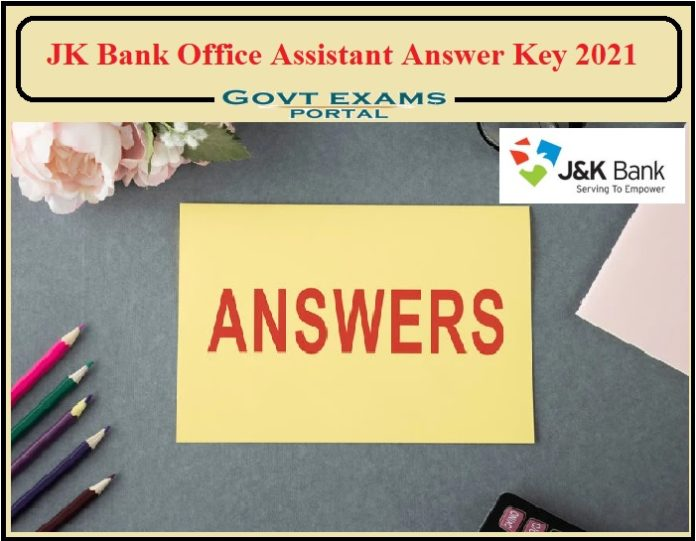 JK Bank Office Assistant Answer Key 2021