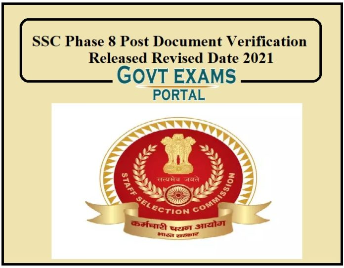 SSC Phase 8 Post Document Verification Released Revised Date 2021