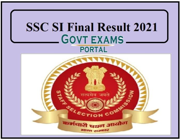 SSC SI Final Result 2021