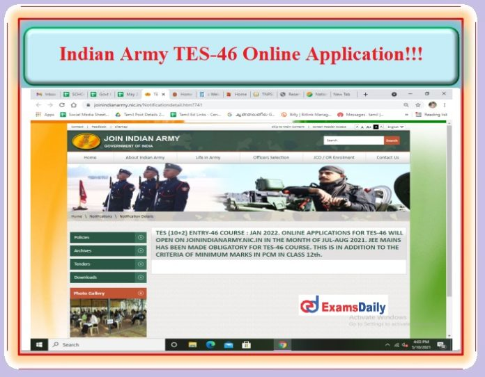 Indian Army TES 46 Entry Course Online Application