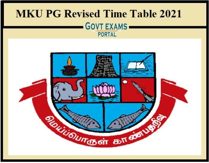 MKU PG Revised Time Table 2021