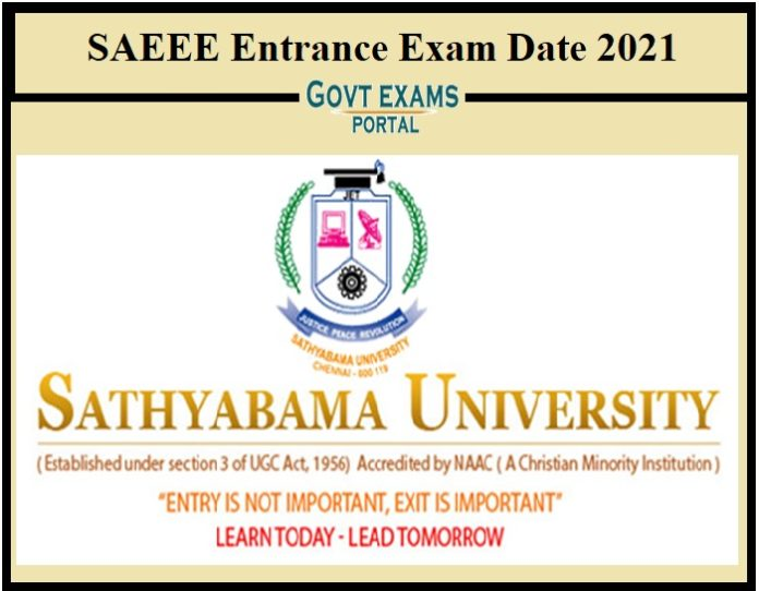 SAEEE Entrance Exam Date 2021
