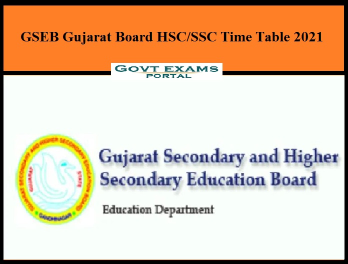 GSEB Gujarat Board HSC SSC Time Table 2021