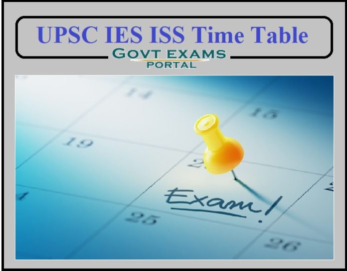 UPSC IES ISS Time Table 2021