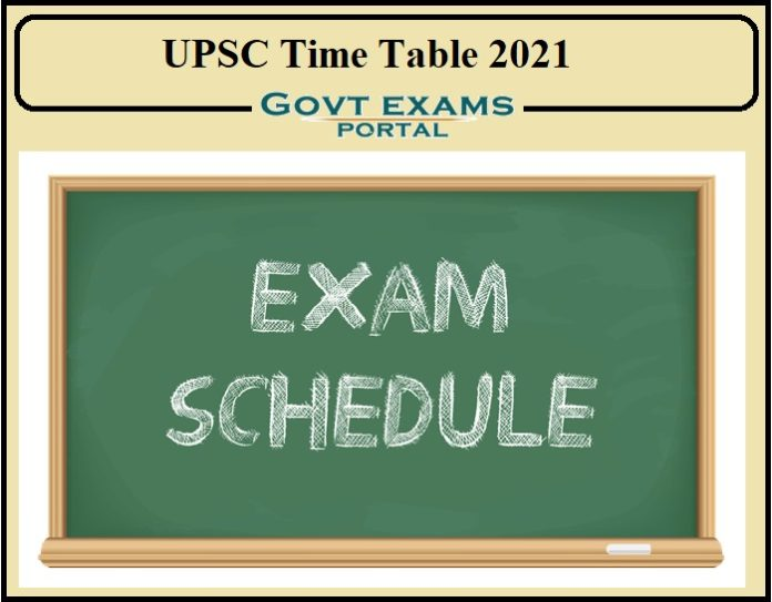 UPSC Time Table 2021